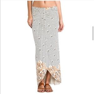 Free People Boho Leaf Open Knit Column Maxi Skirt